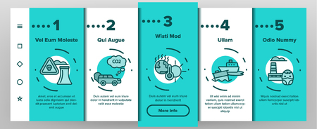 Environmental Air Pollution Vector Onboarding Mobile App Page Screen. Smog, Toxic Waste, CO2 Air Pollution Thin Line Illustration. Factory Smoke, Gas, Dust Ecosystem Danger