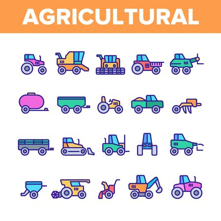 Agricultural Heavy Machinery Vector Linear Icons Set. Agriculture, Farming And Horticulture Equipment Outline Symbols Pack. Tractor With Plough, Combine Harvester Isolated Contour Illustrations