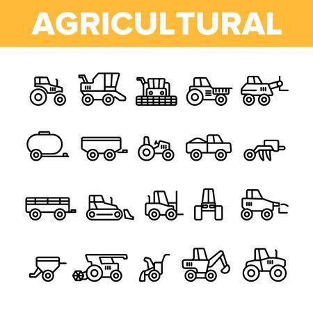 Set di icone lineari di vettore di macchinari pesanti agricoli. Pacchetto di simboli di contorno delle attrezzature per l'agricoltura, l'agricoltura e l'orticoltura. Trattore con aratro, illustrazioni di contorno isolato mietitrebbiatrice Vettoriali