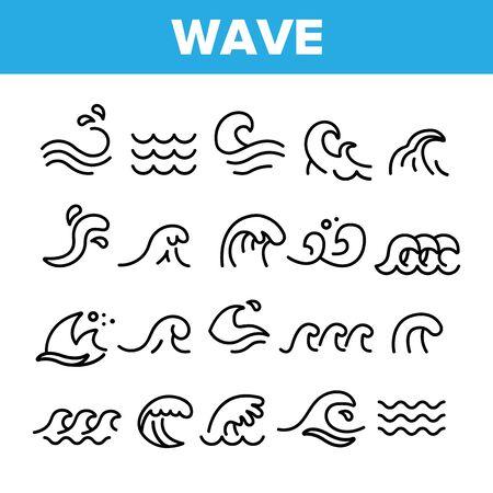 Set di icone lineari vettoriali delle onde del mare e dell'oceano. Spruzzi d'acqua, onda con pacchetto di simboli di contorno di schiuma. Surf e sport acquatici. Nuoto E Vela. Fiume, illustrazioni di contorno isolato Aqua Vettoriali