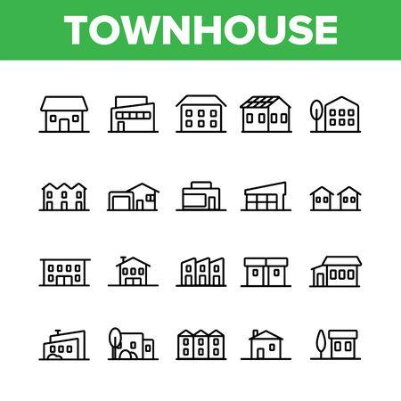 Herenhuizen, residentiële gebouwen Vector lineaire Icons Set. Herenhuis, Cottage en Villa Overzichtssymbolen Pack. Platteland en voorsteden gebied eigendom, onroerend goed geïsoleerd contour illustratie