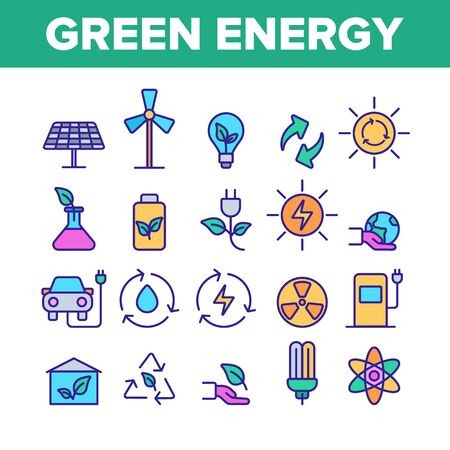 Green Energy Sources Vector Linear Icons Set. Alternative Eco Energy Outline Symbols Pack. Ecology And Environment Friendly Electric Power Isolated Contour Illustrations. Solar Panel, Windmill Ilustrace