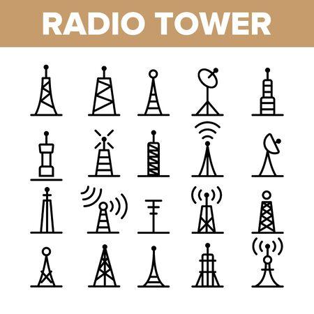 Radiotorens en masten Vector lineaire Icons Set. Radiocommunicatietoren, zender, antenneoverzichtssymbolenpakket. Moderne draadloze technologie, telecommunicatie geïsoleerde contourillustratie Vector Illustratie