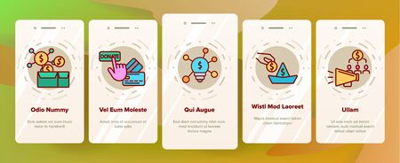 Crowdfunding, Collective Investment Vector Onboarding Mobile App Page Screen. Crowd Funding, Startup Financing. Money Saving, Donation Financial Support Illustrations Ilustrace
