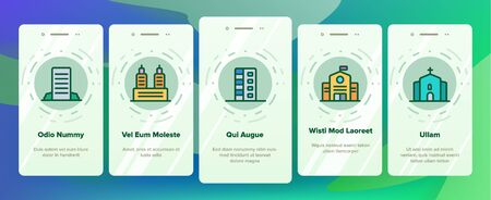 City, Town Buildings Vector Onboarding Mobile App Page Screen. High Rise, Multi Storey Buildings, Skyscraper Facades. Office Centers, Apartment Houses, Malls Outline Isolated