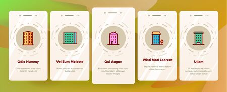 Dwelling House, Condo Onboarding Mobile App Page Screen Vector. Condo, Apartment Buildings. Residential Area, Metropolis Pictograms Collection. Urban Architecture Illustrations