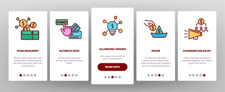 Crowdfunding, Collective Investment Vector Onboarding Mobile App Page Screen. Crowd Funding, Startup Financing. Money Saving, Donation Financial Support Illustrations Illustration