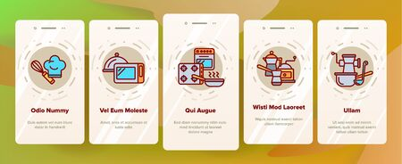 Cooking Items Vector Onboarding Mobile App Page Screen. Cooking Accessories Illustrations. Kitchen Equipment, Electronics Contour Symbols. Cookware, Saucepans, Bowl, Coffee Making Machines Pictograms