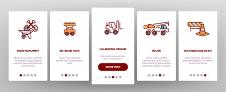 Construction Work Elements Onboarding Mobile App Page Screen Vector Icons Set. Construction, Building Tools, Equipment. Engineering, Heavy Machinery, Transportation. Isolated Industrial Outline Signs