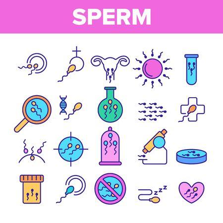 Sperm Cells Vector Thin Line Icons Set. Sperm, Spermatozoa, Male Semen Laboratory Analysis Linear Pictograms. Reproduction, Insemination, Fertilization, Pregnancy Prevention Contour Illustrations