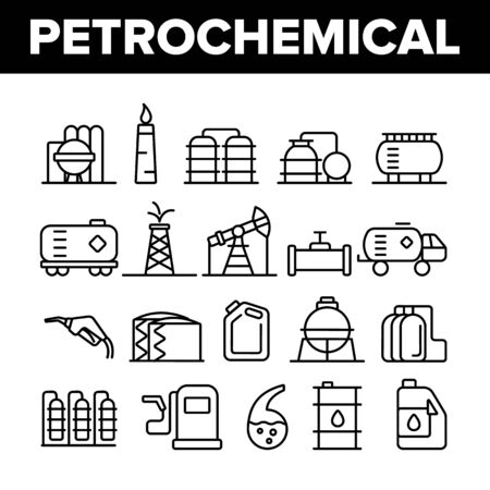 Petrochemical Industry Vector Thin Line Icons Set. Petrochemical Product, Oil, Petroleum Production Linear Pictograms. Oil-derrick, Gas Station, Petrol Storage and Transportation Contour Illustrations