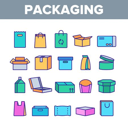 Packaging Types Vector Thin Line Icons Set. Packaging Boxes, Shopping Bags. Cardboard, Paper, Recyclable Containers Linear Pictograms. Pizza, Fast Food, Takeaway Packaging Contour Illustrations