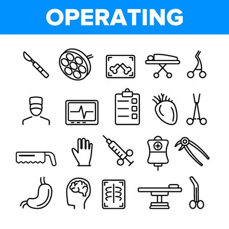 Operating Instruments Vector Thin Line Icons Set. Operating Tools, Surgery Equipment Linear Pictograms. Sterile Scalpel, Scissors, Grasping Forceps. Health Monitoring Equipment Contour Illustrations