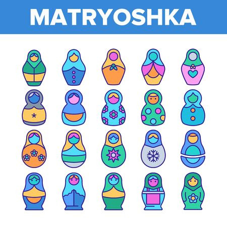Matryoshka Toy Vector Thin Line Icons Set. Matryoshka, Traditional Russian Decorative Souvenir Linear Pictograms. Matrioshka, Handcrafted Wooden Dolls in Ethnic Costumes Symbols Collection