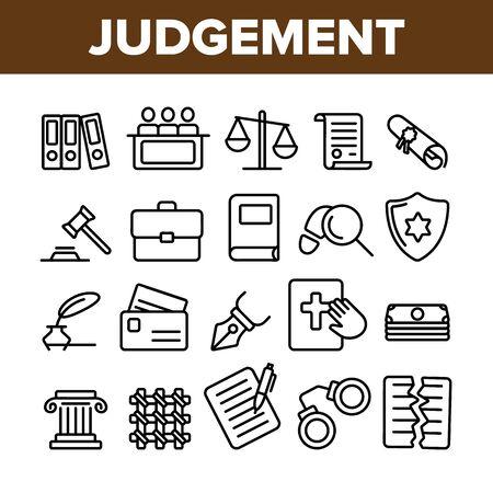 Judgement, Court Process Vector Thin Line Icons Set. Judgement, Trial Procedure Linear Pictograms. Legal Accusation, Litigation. Crime Investigation, Verdict, Indictment Oars Contour Illustrations