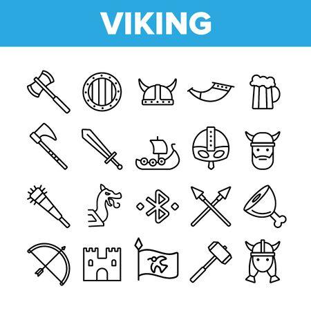 Conjunto de iconos de delgada línea vectorial de descanso activo de vida de vikingos. Accesorios vikingos, armas, pictogramas lineales de municiones. Espadas escandinavas tradicionales, hachas, ilustraciones de contorno de cascos
