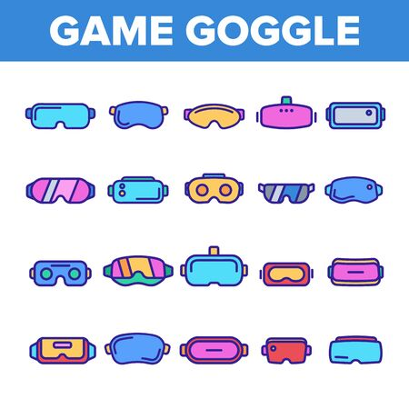 Game Goggles Vector Thin Line Icons Set. Game Goggles for Indoor, Outdoor Activities Linear Pictograms. VR Headsets, Scuba Diving Equipment, Protective Skiing Glasses Contour Illustrations