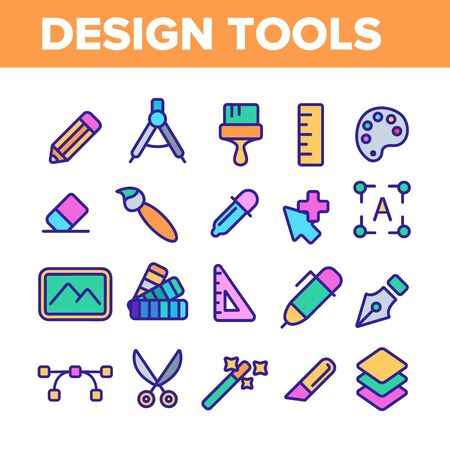 Design Tools Vector Thin Line Icons Set. Graphic Design Tools, Painting, Sketching Accessories Linear Pictograms. Drawing Equipment, Brushes, Pencils, Image Editing Instruments Contour Illustrations Archivio Fotografico - 131571518