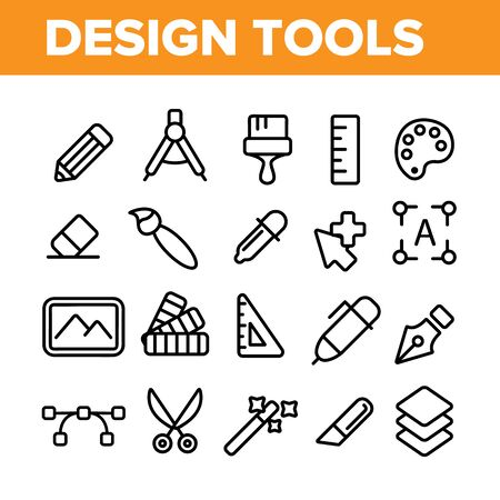Design Tools Vector Thin Line Icons Set. Graphic Design Tools, Painting, Sketching Accessories Linear Pictograms. Drawing Equipment, Brushes, Pencils, Image Editing Instruments Contour Illustrations Archivio Fotografico - 131571519