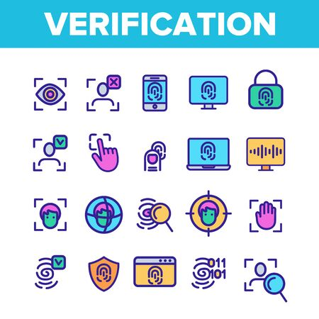 Verification of ID Vector Thin Line Icons Set. Verification, Biometric Data Encryption Linear Pictograms. Person Identification, Fingerprint Check, Facial Features Scanning Contour Illustrations Çizim
