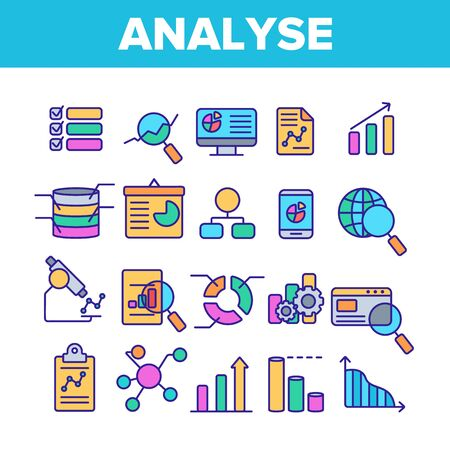 Analysing Data Vector Thin Line Icons Set. Information Analysis Charts, Diagrams Linear Pictograms. Statistical Reports, Presentations, Analytical Thinking. Science and Research Contour Illustrations