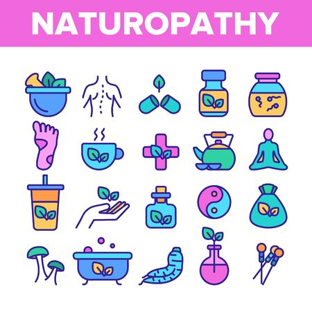Naturopathy Therapy Vector Thin Line Icons Set. Naturopathy, Homeopathic Medication Linear Pictograms. Natural Ingredients, Feet Massage, Yoga, Acupuncture, Alternative Medicine Contour Illustrations