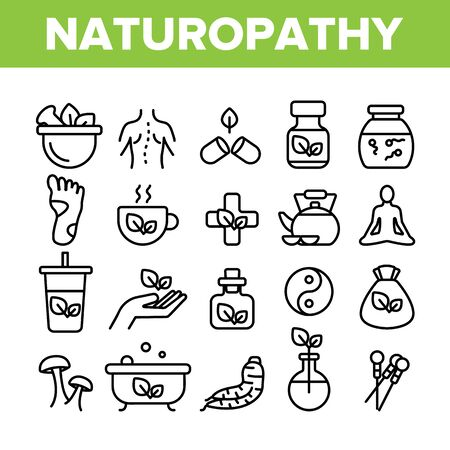 Naturopathy Therapy Vector Thin Line Icons Set. Naturopathy, Homeopathic Medication Linear Pictograms. Natural Ingredients, Feet Massage, Yoga, Acupuncture, Alternative Medicine Contour Illustrations 写真素材 - 131571361