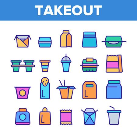 Takeout Food Vector Thin Line Icons Set. Takeout, Takeaway Meal and Beverages Linear Pictograms. Fast Food, Chinese Dishes in Paper Disposable Containers, Drinks in Plastic Cups Contour Illustrations Vektorové ilustrace