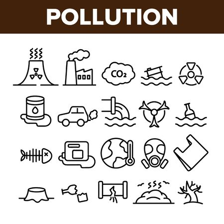 Pollution of Environment Vector Thin Line Icons Set. Air, Water, Soil Pollution Problems Linear Pictograms. Chemical Contamination, Gas Emissions, Deforestation, Global Warming Contour Illustrations 向量圖像