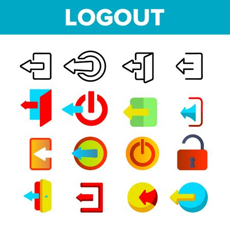 Logout Button Vector Thin Line Icons Set. Logout, Leaving User Account Linear Pictograms. Page Exit Navigation Button with Open Door, Switch Off and Arrows Signs Color Flat Illustrations