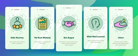 Head Hunting Service Linear Vector Onboarding Mobile App Page Screen. Head Hunting, Recruitment, Employment Building Successful Career. Hiring Process Collection. HR Management Illustrations