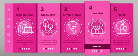 Hurricane Natural Disaster Vector Onboarding Mobile App Page Screen. Hurricane, Wind And Tornado Outline Symbols Pack. Mountain Avalanche, Flood And Lightning Isolated Contour Illustrations.