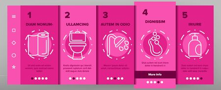 Hygiene, Cleaning Onboarding Mobile App Page Screen Vector Set. Sanitary, Personal Hygiene. Bathroom, Toilet Items. Washing Hands, Shower, Hygienic Procedures. Body Care Products Symbols