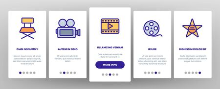 Film Edit, Filmmaking Onboarding Mobile App Page Screen Vector Icons Set. Movie Shooting, Editing Thin Line Symbols Pack. Videotaping. Cinematography Motion picture. Video Production Illustrations Illustration