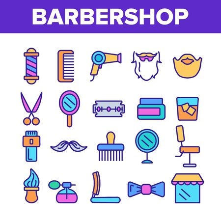 Barbershop Accessories Vector Thin Line Icons Set. Barbershop Accessories, Hairdressers Tools Linear Pictograms. Combs, Blow Dryer, Shaving Instruments, Professional Furniture Contour Illustrations