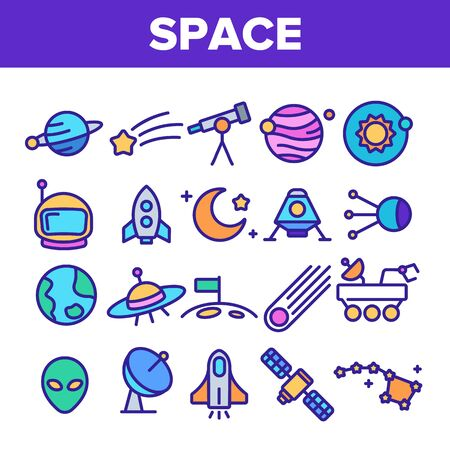 Space Exploration Vector Thin Line Icons Set. Outer Space, Extraterrestrial Life Linear Pictograms. Solar System, Moon Surface Research, Satellites, Telescopes, Spaceships Contour Illustrations
