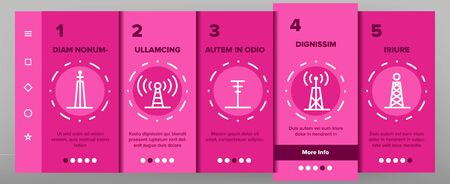 Radio Towers And Masts Vector Onboarding Mobile App Page Screen. Radio Communication Tower, Transmitter, Antenna Outline Symbols Pack. Modern Wireless Technology, Telecommunication Illustration