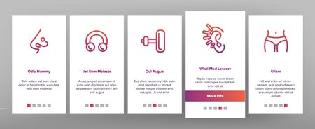 Piercing Salon Theme Linear Vector Onboarding Mobile App Page Screen. Piercing Earrings, Ball closure Ring. Stainless Steel Jewelry Pictograms. Professional Tool, Equipment Signs Illustrations