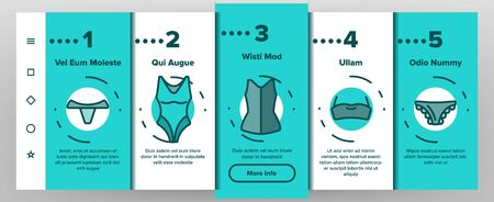 Lingerie Accessories Items Linear Vector Onboarding Mobile App Page Screen. Woman Lingerie, Underwear Symbols Pack. Female Bra, Panty, Corset Pictogram Collection. Fashion Clothes Outline Illustration