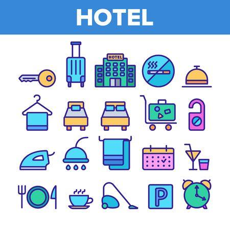 Hotelunterkunft, Zimmerausstattung Vector Linear Icons Set. Hostel-Services und -Möglichkeiten, All-Inclusive-Lineart-Design. Apartment-, Hotelbuchungs- und Reservierungsfunktionen Thin Line Illustration