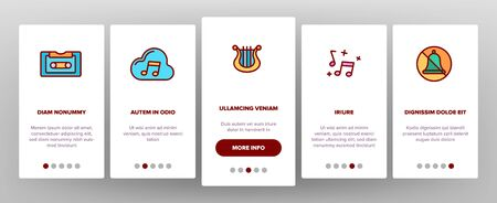 Music, Audio Vector Onboarding Mobile App Page Screen. Music Listening Apps, Audio Files Storage Linear Pictograms. Old, Modern Voice Recording Technology. Speakers, Mute Mode, Settings Illustrations