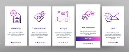 5G Fast Network, Connection To Website Vector Onboarding Mobile App Page Screen. High Speed Internet, 5G Generation Of Service. Internet Provider, Connection, Wifi, Wireless Distribution Illustration Ilustracja