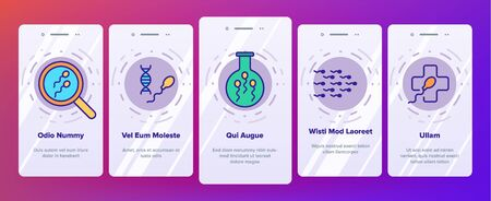Sperm Cells Vector Onboarding Mobile App Page Screen. Sperm, Spermatozoa, Male Semen Laboratory Analysis Linear . Reproduction, Insemination, Fertilization, Pregnancy Prevention Illustrations