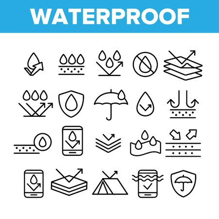 Waterproof, Water Resistant Materials Vector Linear Icons Set. Waterproof, Surface Protection Outline Cliparts. Hydrophobic Fabric Pictograms Collection. Anti Wetting Material Thin Line Illustration