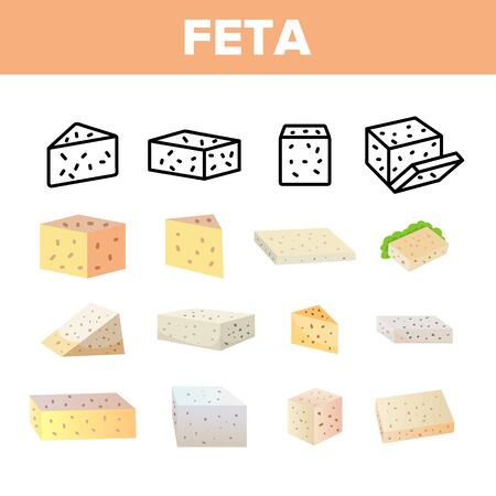 Feta, Cow Dairy Product Vector Linear Icons Set. Differently Shaped And Colored Feta Cheese Slice. Fresh Natural Snack Thin Line Pictograms. Greek Cheese With Holes, Curd Product Flat Illustrations