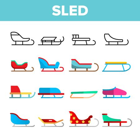 Sled, Winter Activity Vector Linear Icons Set. Differently Shaped And Colored Sled. Sleigh Sport, Winter Activity Equipment Thin Line Pictograms. Childhood Outdoor Entertainment Flat Illustrations