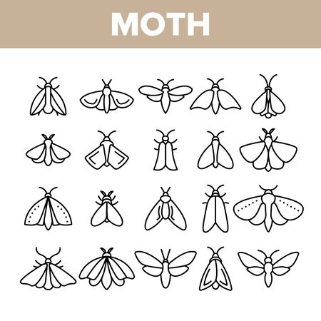 Moth, Insects Entomologist Collection Vector Linear Icons Set. Moth Species And Types Outline Cliparts. Flying Insects With Wings Pictograms Collection. Butterflies Thin Line Illustration