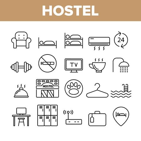 Hostel, Tourist Accommodation Vector Linear Icons Set. Hostel Facilities And Services. Outline Cliparts. Hotel Reservation Pictograms Collection. Hospitality Industry Thin Line Illustration