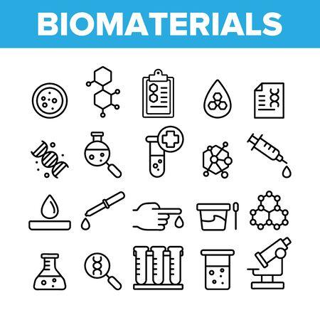 Biomateriales, conjunto de iconos lineales vectoriales de análisis médico. Cliparts de esquema de investigación de biomateriales. Colección de pictogramas de experimentos químicos. Ilustración de línea fina de equipo de laboratorio científico Ilustración de vector