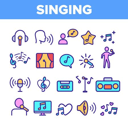 Color Different Singing Icons Set Vector Thin Line. Singing And Listening Song And Music In Karaoke, Concert, Tape-recorder Or Audiophone Linear Pictograms. Contour Illustrations Illustration
